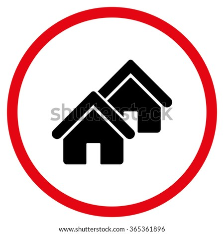 Realty glyph icon. Style is bicolor flat circled symbol, intensive red and black colors, rounded angles, white background. - stock photo