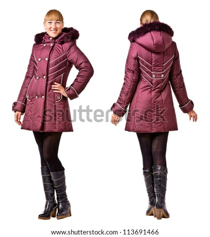 Rear and front  view of woman in winter hooded jacket on white background - stock photo