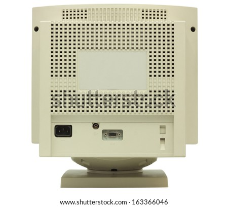 Rear of CRT monitor isolated on white with clipping path - stock photo