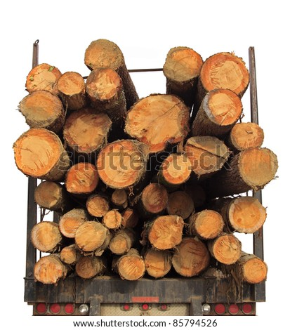 Rear of transport loaded with wood, isolated on white background. - stock photo