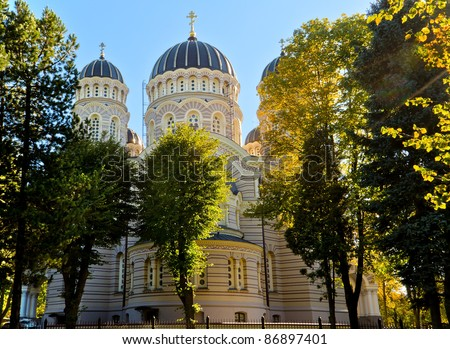 Rear part of the biggest Russian Orthodox Church in Riga, Latvia - stock photo