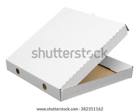 Rear side of open pizza box, white board pizza box isolated on white with clipping path. - stock photo