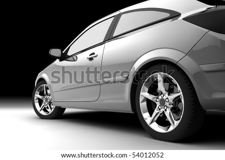 Rear-side view of a car on black - stock photo