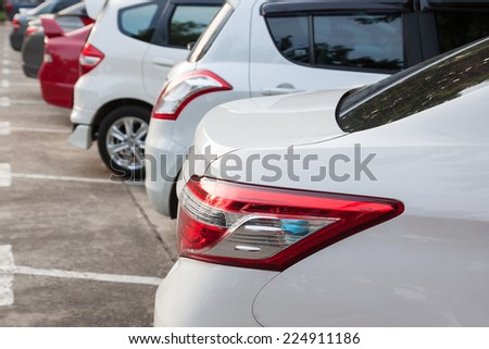 Rear Tail Light Car in Parking - stock photo