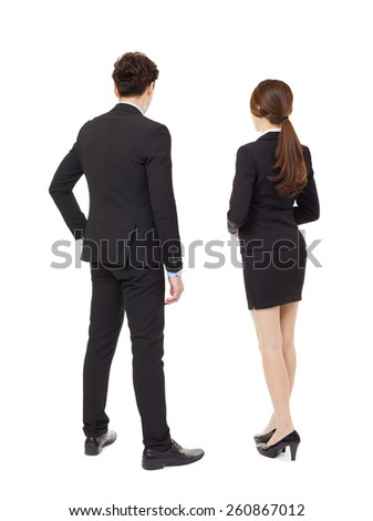 rear view businessman and businesswoman  standing - stock photo