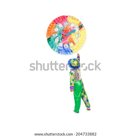 rear view comedian little boy painting colorful clock made of paint brushes watercolor  in concept abstract art  - stock photo