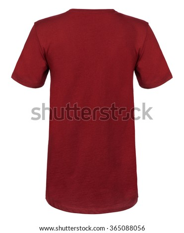 Rear view cut-out of a plain maroon, round-collared shirt on an invisible mannequin. - stock photo