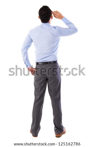 Rear view full body Asian businessman standing isolated white background - stock photo