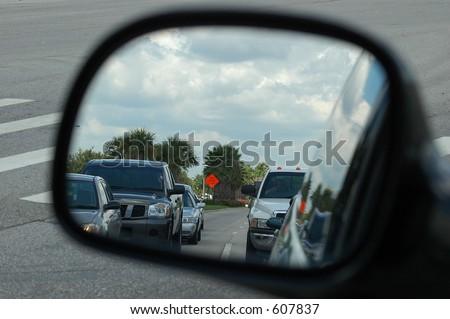 Rear View Mirror - stock photo