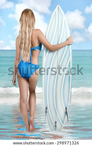 Rear view of a beautiful young sexy woman in bikini surfer with surfboard