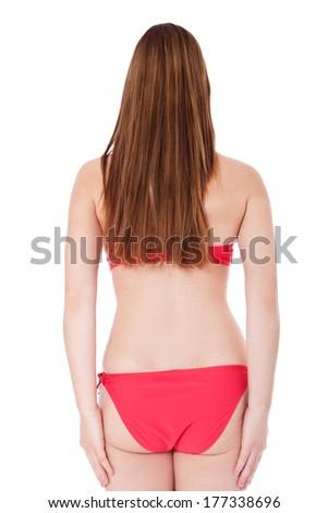 Rear view of a girl in bikini - stock photo