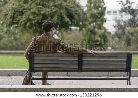 Young Couple Sitting On Bench Park Stock Photo 97593713