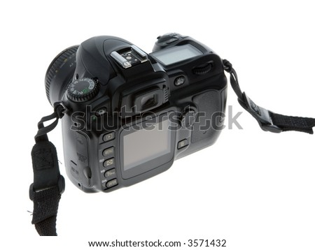 Rear view of a modern digital SLR single lens reflex camera. Isolated on white. - stock photo