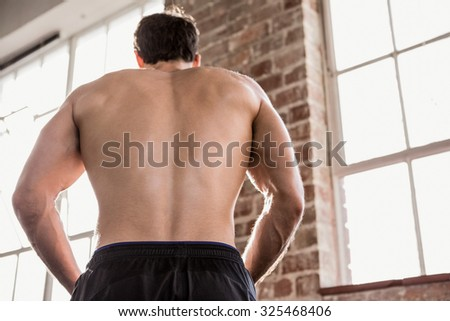 Rear view of a muscular man showing his body at the gym - stock photo