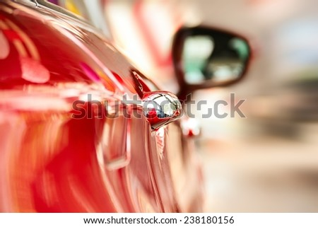 Rear view of a red car. - stock photo