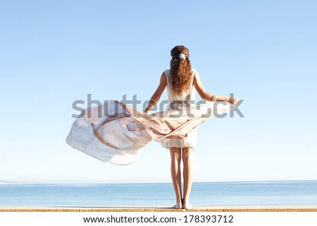 Rear view of a young woman wearing a silk dress and holding a floating sarong with her hands against a bright blue sky and sea on a holiday beach, outdoors. Travel and healthy lifestyle. - stock photo