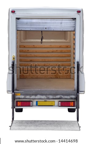 Rear view of an empty white box van with a tail lift, isolated on white with clipping path.