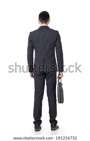 Rear view of Asian businessman, full length portrait isolated on white background. - stock photo