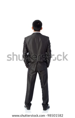 Rear view of asian young business man, isolated over white background, full length portrait of businessman standing back - stock photo