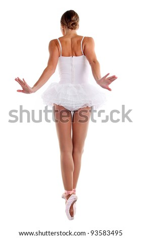 Rear view of ballerina dancing on pointes - stock photo
