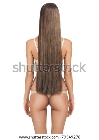 Rear view of beautiful woman with long straight brown hair and slim body. Isolated on white background - stock photo