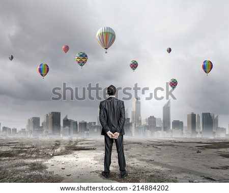 rear view of businessman looking at scene of polluted city - stock photo