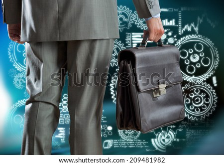 Rear view of businessman with suitcase and business sketches - stock photo