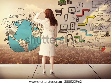 Rear view of businesswoman against new york - stock photo
