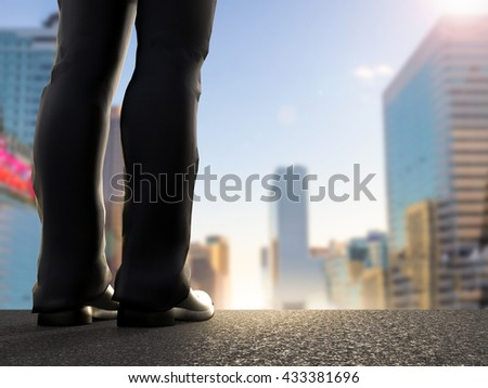 rear view of 3d rendering businessman standing with cityscape background - stock photo