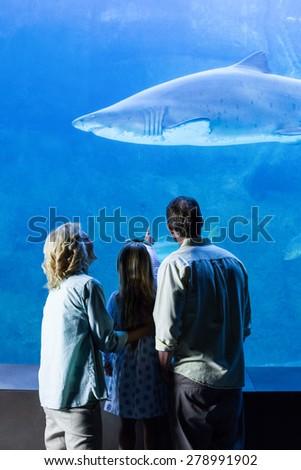 Rear view of family watching the tank fish at the aquarium - stock photo