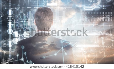 Rear view of handsome businessman against hologram background - stock photo