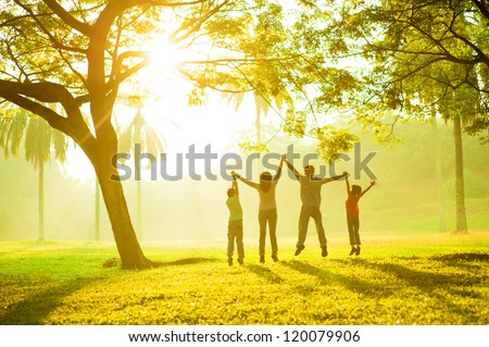 Rear view of joyful happy Asian family jumping together at outdoor park - stock photo