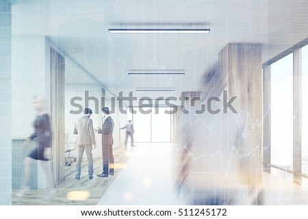 Rear view of man entering office corridor with wooden columns and row of conference rooms. 3d rendering. Mock up. Toned image. Double exposure