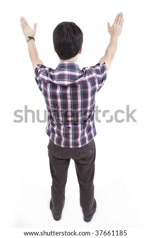 Rear view of man wearing colourful shirt and stretching his arms - stock photo