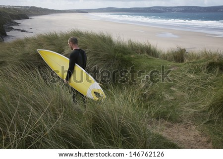 Rear view of man with surfboard walking through grass on beach - stock photo