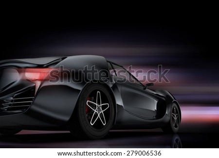 Rear view of metallic gray sports car with colorful glow effect. Original design. 3D rendering image. - stock photo