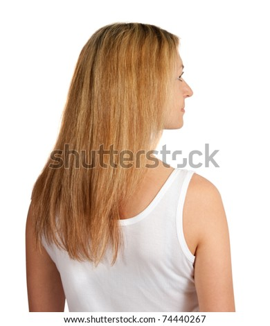 Rear view of middle aged woman isolated on white - stock photo
