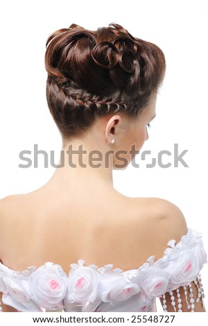 Rear view of modern wedding hairstyle - elegance young bride - stock photo