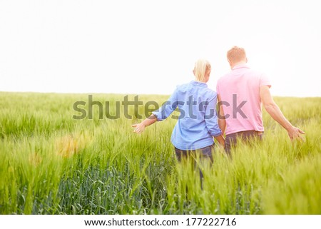 Rear View Of Romantic Couple Walking In Field Holding Hands - stock photo