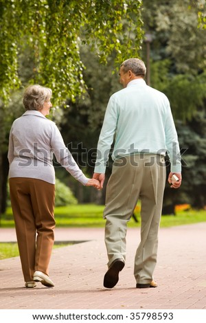 Rear view of senior couple walking down in park and chatting - stock photo