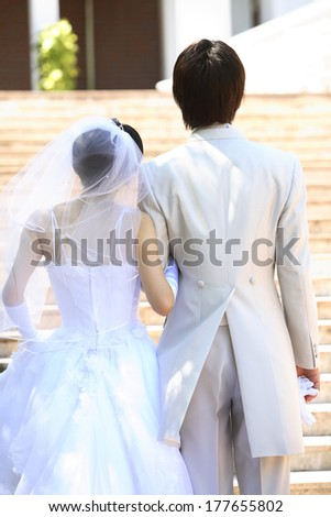 Rear View of stair-climbing bride and groom