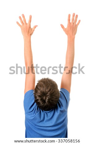 Rear View of the Man with Hands Up Isolated on the White Background - stock photo