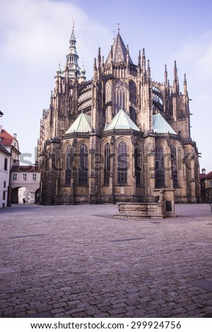 Rear view of the St. Vitus cathedral in Prague Castle in Prague, Czech Republic - stock photo