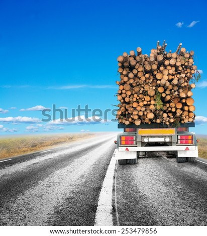 Rear view of truck with trailer loaded with timber on rural road - stock photo