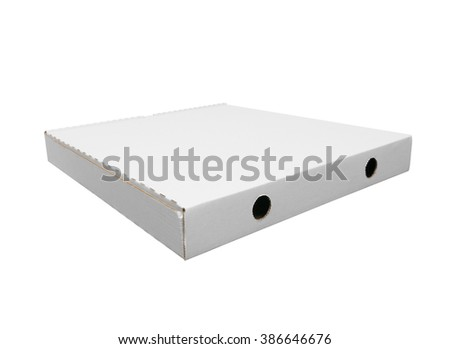Rear view of white pizza box on white background isolated with clipping path. Wide angle photo