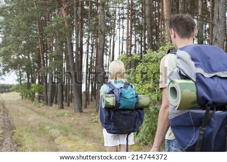 Rear view of young backpackers walking in forest trail - stock photo