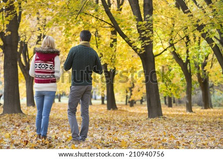 Rear view of young couple walking in park during autumn - stock photo