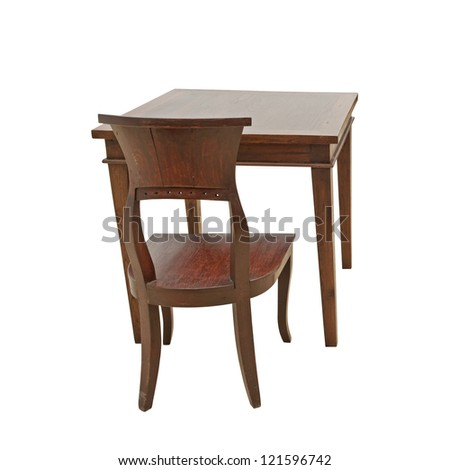 rear view vintage wooden chairs and tables isolated on white background - stock photo