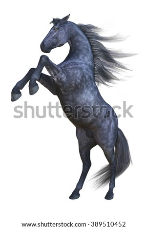 Rearing horse isolated. 3d illustration