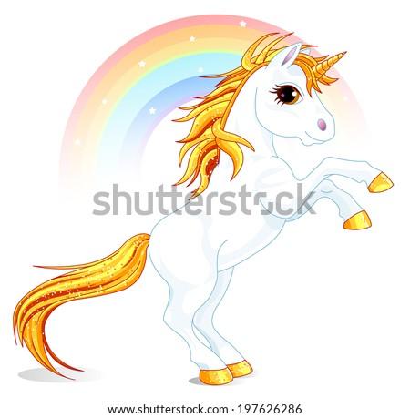 Rearing up unicorn in rainbow. Raster version.   - stock photo
